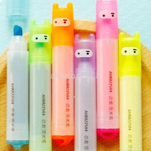 High Quality Highlighter Pen Rabbit Stationery Marker Pens Mini Writing Set 6PCS