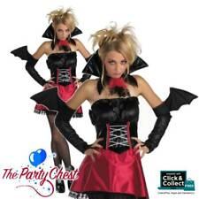 LADIES VAMPIRE VIXEN COSTUME Halloween Vamp Vampira Womens Fancy Dress Outfit
