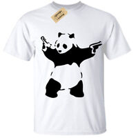 Kids Boys Girls Banksy Panda T-Shirt Urban Graffiti Cool Fashion Tee Top