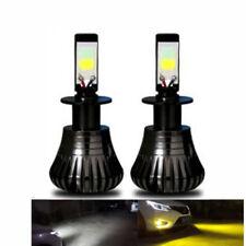 2pcs 80W H3 Car LED Fog Light Driving Bulb 9600LM Switch Dual Color White Yellow