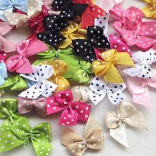60 pcs Lots  Dot Satin Ribbon Flowers Bows Gift Craft Wedding Decoration