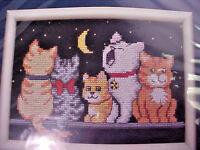 Counted Cross Stitch Kit Jiffy 16571 Midnight Meow 14 Ct Black Aida Gayle Glass