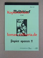 """Meldeblock 25 Blatt Wehrmacht  """"Papier sparen"""" für Kartentasche Kradmelder etc."""