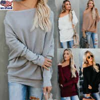Women One Shoulder Knitted Jumper Tops Loose Baggy Long Sleeve Sweater Blouse US