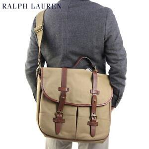 Polo Ralph Lauren Shoulder Bag Messenger Bag Canvas with Leather - Tan -