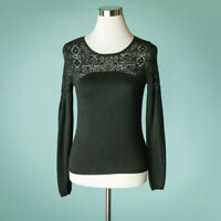 Anthropologie Knitted Knotted XS Black Sweater Lace Neckline Crew Long Sleeve