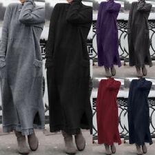 Zanzea женский повседневный праздничный зима полная длина карманы Рубашка толстовка платье США