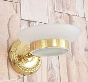 Gold Color Brass Wall Mounted Glass Soap Dish Holder Bathroom Accessories Lba588