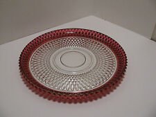 """Vintage Ruby Red Flash Glass - Diamond Point 12"""" Round Serving Platter/Plate"""