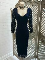 🌹DAMSEL IN A DRESS🌹DESIGNER NAVY FLORAL LACE WIGGLE PENCIL COCKTAIL DRESS 10