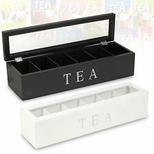 Wooden Tea Box 6 Compartments Hinged Glass Lid Spice Coffee Capsule Holder Food
