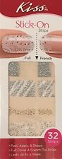 Kiss Nail Stick on Applique Strips French or Full 32 Strips DGSS49 Silk Gorgeous