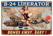 Airplane B-24 Liberator Pin Up Girl Metal Sign By Steve McDonald 12x18 RVG282