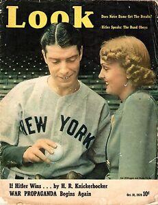 1939 (Oct. 10) Look Magazine, Baseball, Joe DiMaggio, New York Yankees ~ Poor