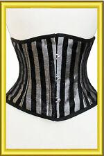 Alta calidad corsé de cintura corta reducir chincher en Plata y Negro Brocado