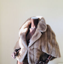 vintage Faux Fur Mink Cape Poncho Blonde Beige Honey Golden Bolero  Uk10 Uk12