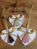 3 X Handmade Tartan Christmas Decorations Shabby Chic Heart Tree Gold Bows