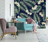 3D White Flowers Leaf 1092 Wallpaper Mural Wallpaper UK Jenny