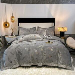 Bronzing bedding set 4pcs Warm soft velvet quilt cover flat sheet 2 pillowcases