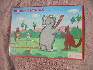 Vtg Milton Bradley Puzzle Babar and His Friends Baseball 1960 Missing 1 Pce Flaw