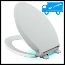 Ice Gray Elongated Toilet Seat Quiet Closed Led Light Slow Close Lid Grip Tight