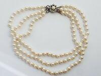 "Vintage 13.5"" Faux Pearl Triple Strand Necklace Choker"