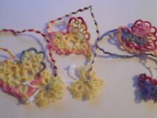 3 Tatted Heart Butterfly Bookmark  Lacey Book Gift Tatting by Dove Country