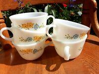 "5 ""Flirtation"" Vintage Milk Glass Pyrex Mug Cups White Pretty floral Corning USA"