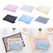Clear Exam Pencil Case Transparent Simple Mesh Zipper Stationery Bag School