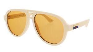 Gucci GG0767S-004 White Teardrop Aviator Sunglasses