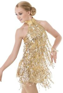 New Dance Costume Skating Dress Gold Fringes AS - AXXL