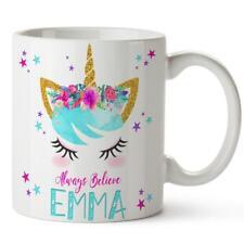 Personalised Mug Unicorn Face Pretty Cup Magical Birthday Girl Add Name KM01