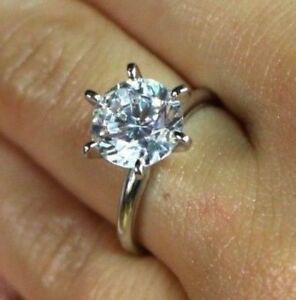 3.00 CT ROUND CUT SOLITAIRE ENGAGEMENT PROMISE RING IN SOLID 14K WHITE GOLD VVS1