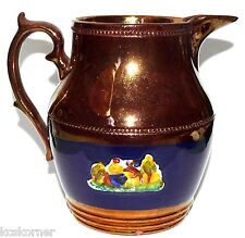 Antique Staffordshire Copper Lustre 19 C Blue Enamel Embossed Small Pitcher