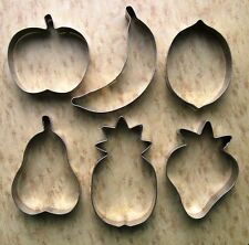Fruits Cookie Cutters PEAR Banana Apple Strawberry Lemon Pineapple Fondant Set