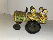VINTAGE 1940'S MARX JUMPIN JEEP WIND UP TOY
