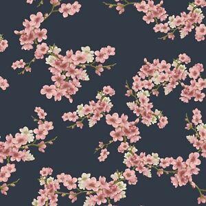 Soft Sweat, Verhees Textiles, warme Rückseite, GOTS, Kirschblüten, Navy, 150cm