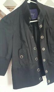 Miley Cyrus Max Womens Contrast Materials Snap Jacket Juniors L Black 3/4 Sleeve
