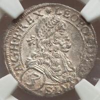 1670 Austria 3 Silver Kreuzer Vienna Leopold I The Hogmouth NGC AU58