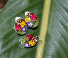 Earrings & Pendant Mexico .925 Sterling Silver Mix Pressed Flowers Fair Trade