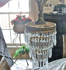 "Antique 30's-40' French BRASS ROUND Style Crystal Chandelier Lamp 23""LNG 2 TIER"