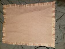 Vintage Baby blanket lace solid cream white acrylic nylon satin trim 43 x 35 LN
