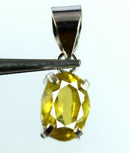 Natural 15.25 Ct Yellow Sapphire 925 Sterling Silver Pendant AGI Certified K9272