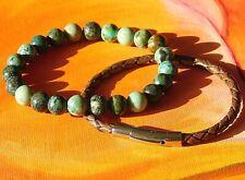 Mens / Ladies 8mm Gemstone Beaded Bracelet Set - African Turquoise & Leather.