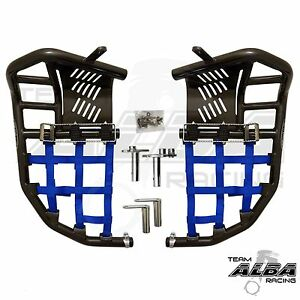 Yamaha Raptor 700  Nerf Bars Pro Peg Heel Guard  Alba Racing  Black Blue 197T7BL