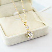 Women's 18K Yellow Gold Filled Crystal Drop Charm Pendant Necklace Stunning Gift
