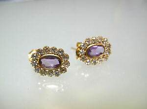 A pair solid 14k gold nature Amethyst oval stud earrings CZ surrounding design
