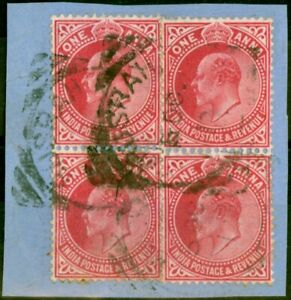 Iraq Indian P.O in Basra 1902 1a Carmine SGZ161 Fine Used 2 x 2 Pairs on Smal...