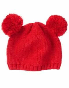 GYMBOREE SNOW COZY RED POM POM EARS SWEATER BEANIE HAT 0 6 NWT