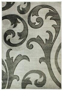 Damask Grey Runner Rug Elude Hand Carved Soft High Quality Carpet 60x230cm New